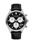 43mm Heritage Calendoplan Chronograph Watch with Black Leather Strap
