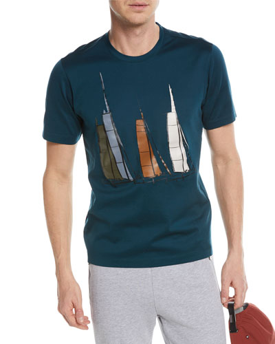 Zegna Sport  BOAT GRAPHIC COTTON T-SHIRT, GREEN