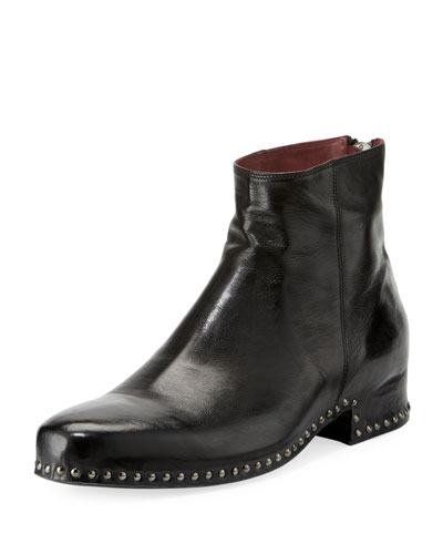 Harrison Leather Studded Zip Boot