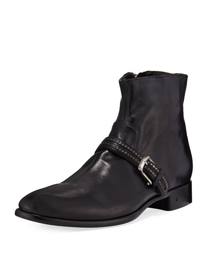 Eldridge Buckled-Vamp Leather Boot