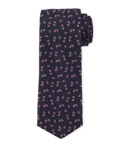 Floral-Pattern Silk Tie