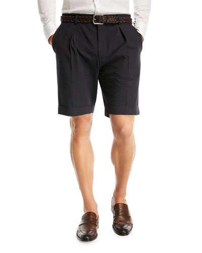 Wide Pleated Seersucker Shorts