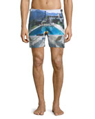 Bulldog Poolside Printed Swim Trunks, Multi
