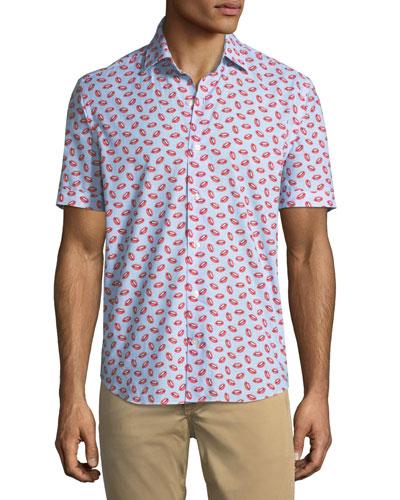 Lip-Print Cotton Button-Down Shirt