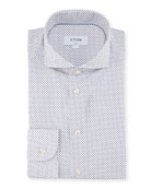 Contemporary Dot-Print Cotton Dress Shirt