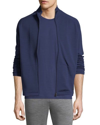 Full-Zip Stand-Collar Sweater