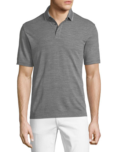 ZEGNA SPORT Heathered Wool Polo Shirt in Gray