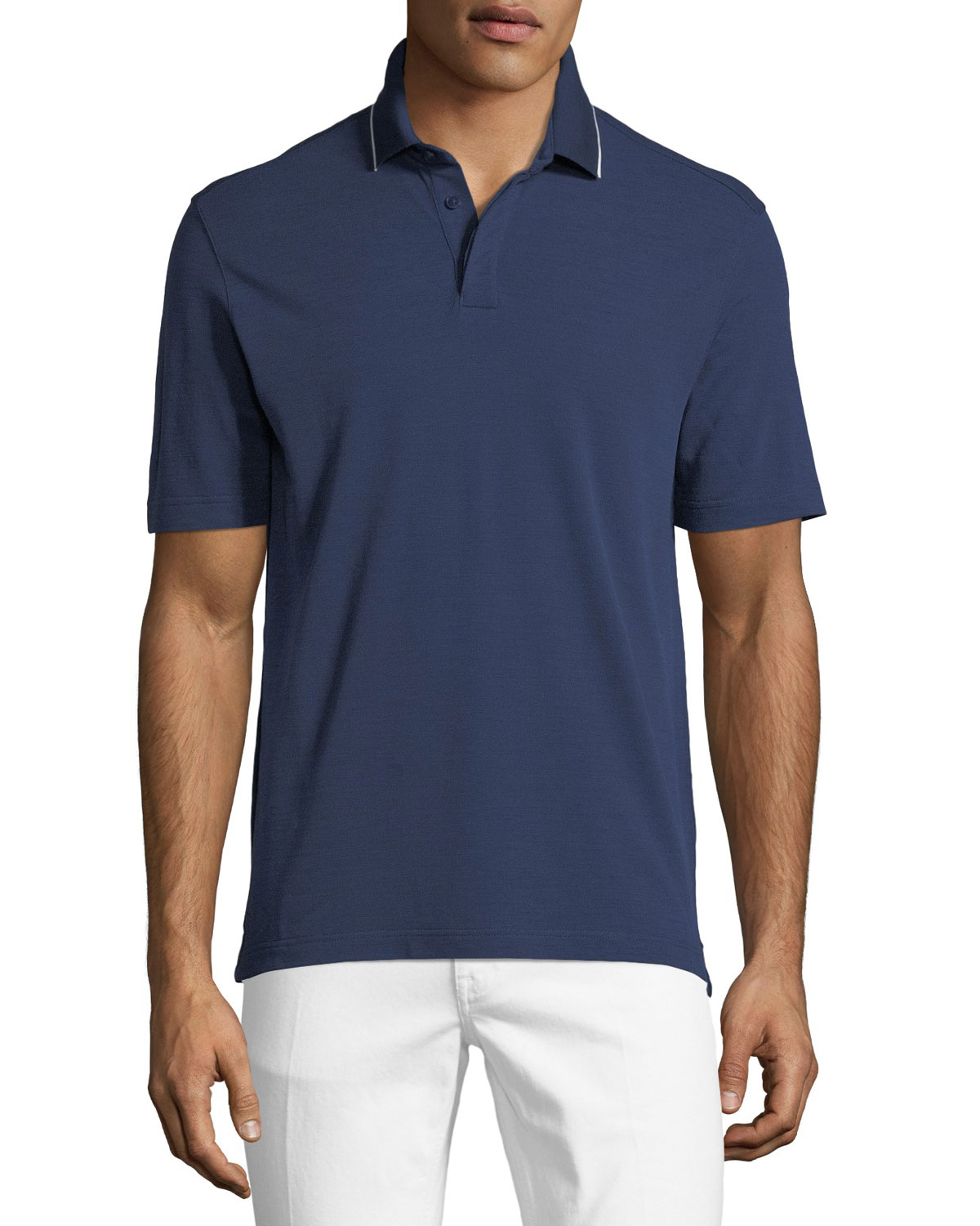 Z Zegna  HEATHERED WOOL POLO SHIRT