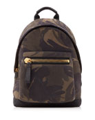 Men's Camouflage-Print Leather Backpack