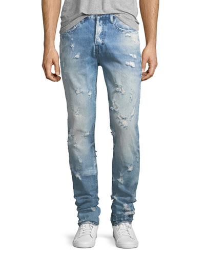 Lightweight Distressed Slim-Straight Jeans