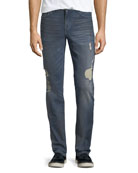 Slim-Fit Distressed Jeans, Burns (Dirty Vintage Medium Indigo)