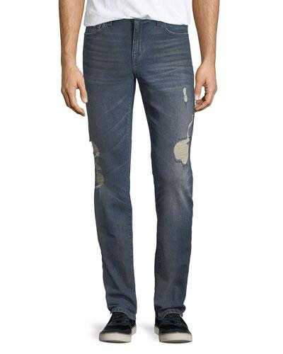 Men's Slim-Fit Distressed Jeans, Burns (Dirty Vintage Medium Indigo)