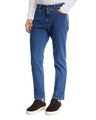 Straight-Leg Stretch-Denim Jeans