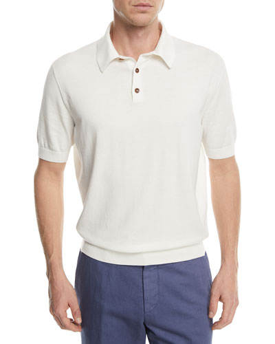 Banded-Hem Cotton Polo Shirt