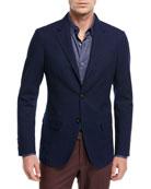 Slim Fit Denim Two-Button Jacket