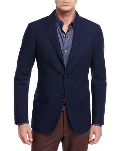 Slim Fit Denim Two-Button Jacket