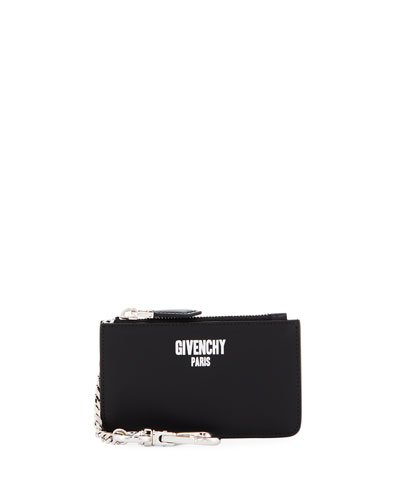 Logo-Print Leather Key Chain Card Case