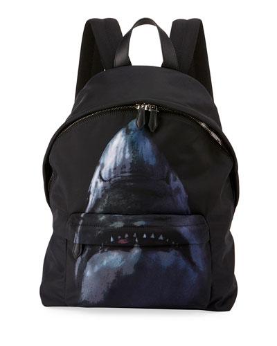 Shark-Print Nylon Backpack