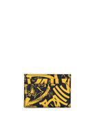 Bhar Graffiti-Print Leather Card Case