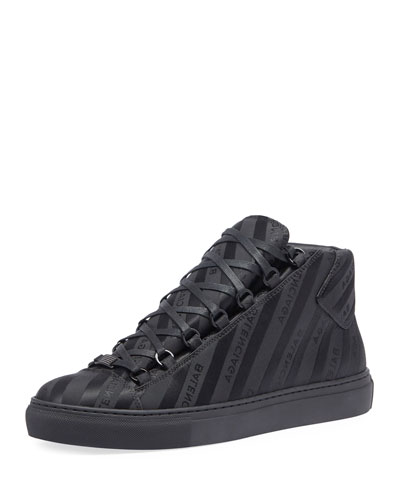 Men's Arena Striped Leather Mid-Top Sneaker