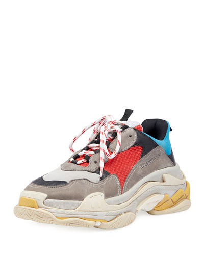Triple S Mesh & Leather Sneaker, Blue