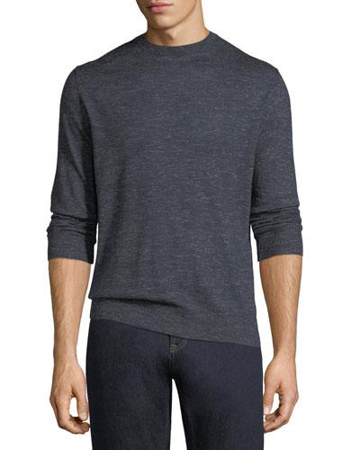 Cashmere-Silk Heathered-Knit Crewneck Sweater