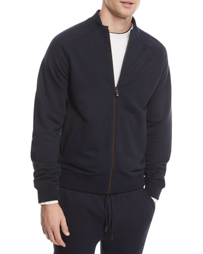 Zip-Front Cotton-Blend Sweatshirt