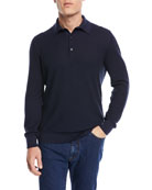 Jacquard Long-Sleeve Polo Shirt
