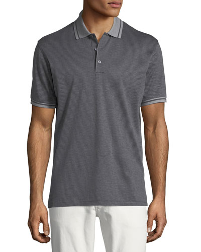 Pique Knit Polo Shirt with Small Dots