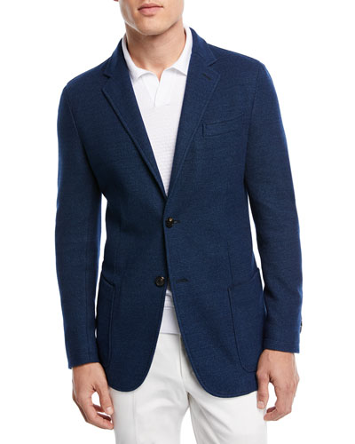 Denim Cotton Jersey Two-Button Jacket
