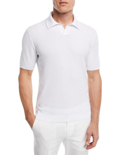 Jacquard-Knit Polo Shirt