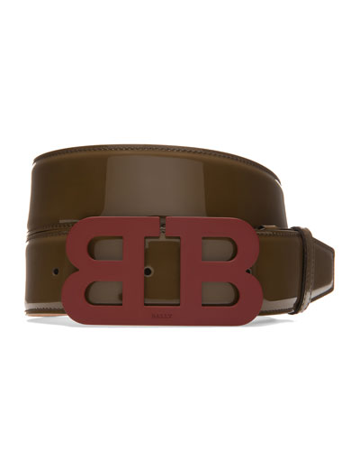 Mirror B Leather Belt, Taupe