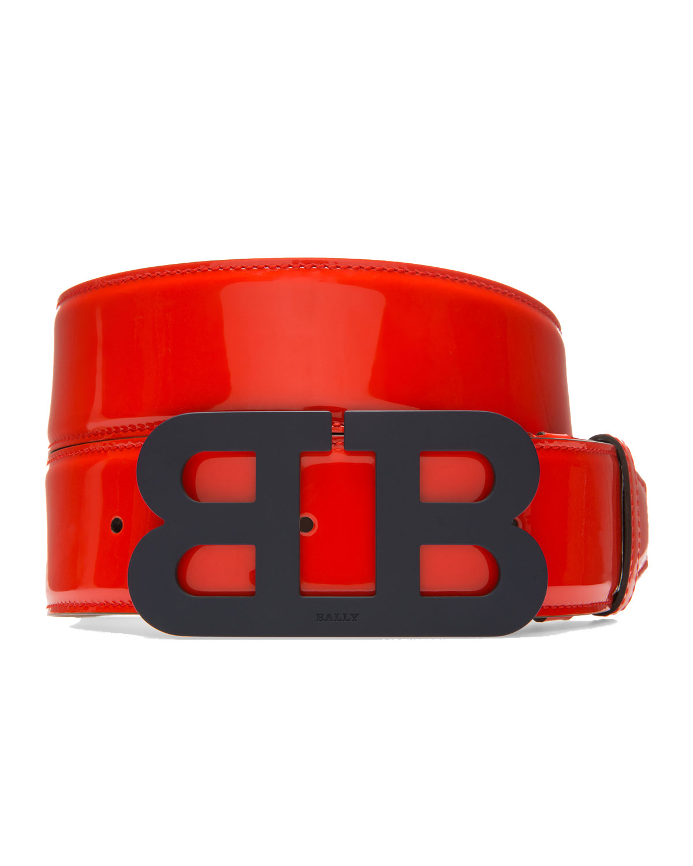 Mirror B Leather Belt, Red