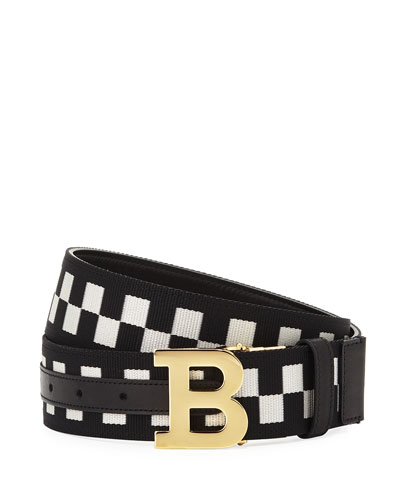 Mirror B Reversible Check-Leather Belt, Black