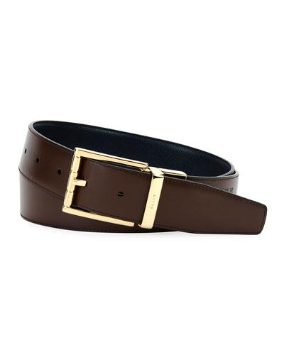 Astor Reversible Leather Belt, Blue
