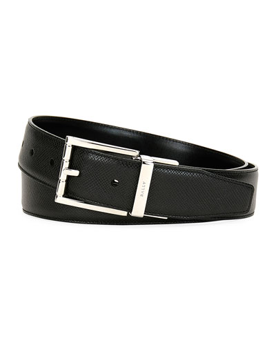 Astor Reversible Leather Belt, Black