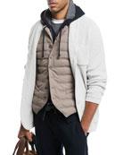 Shawl-Collar Button-Front Cardigan