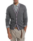 Contrast-Stripe Wool-Blend Cardigan