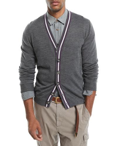 Contrast-Stripe Wool-Blend Cardigan