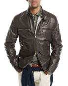 Leather Jacket with Zip Pockets