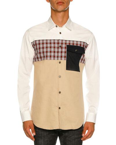 Mixed-Fabric Poplin Shirt