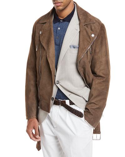 Suede Asymmetric Moto Jacket