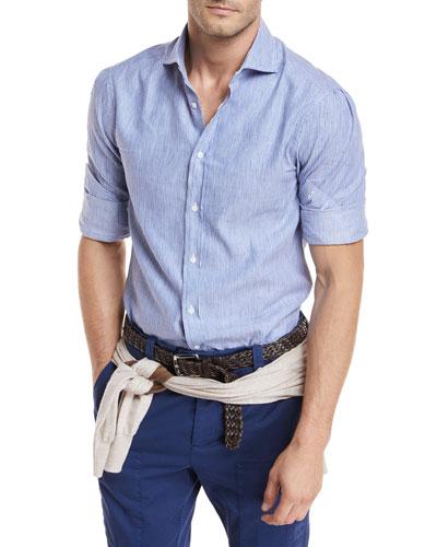 Linen-Blend Striped Sport Shirt