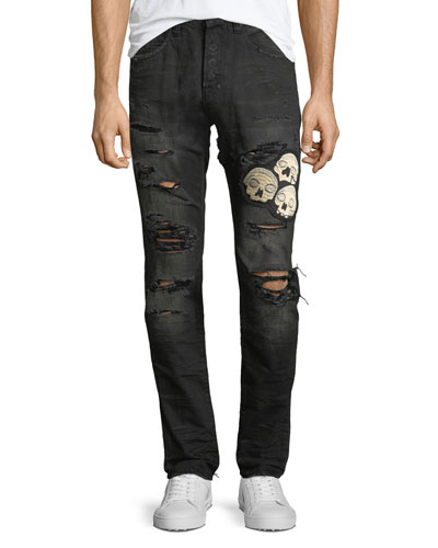Le Sabre Distressed Jeans with Skull Appliqué