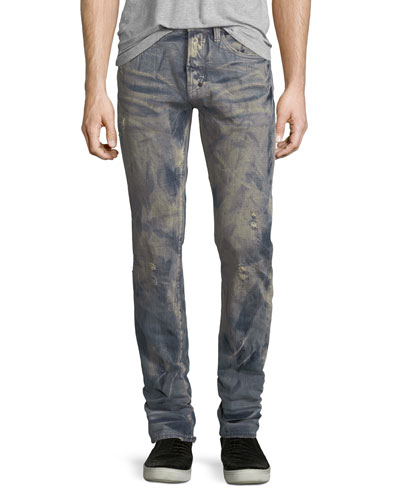 Slim-Straight Distressed Jeans with Dust Coating