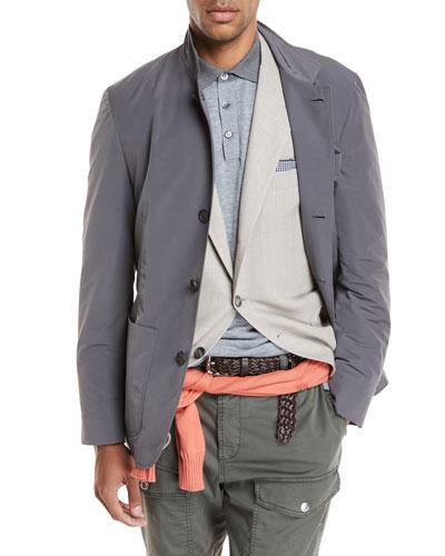 Button-Front Nylon Jacket, Gray
