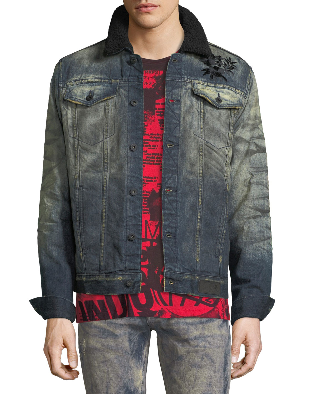 Flower-Embroidered Denim Jacket