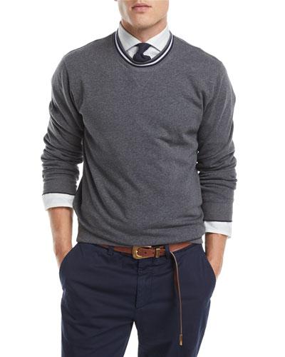 Contrast-Trim Crewneck Sweater