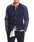 Brunello Cucinelli Contrast-Sleeve Baseball Jacket and Matching