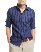 Leisure-Fit Striped Sport Shirt